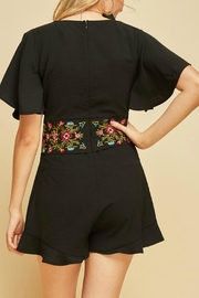 Entro Embroidered Waist Romper - Side cropped