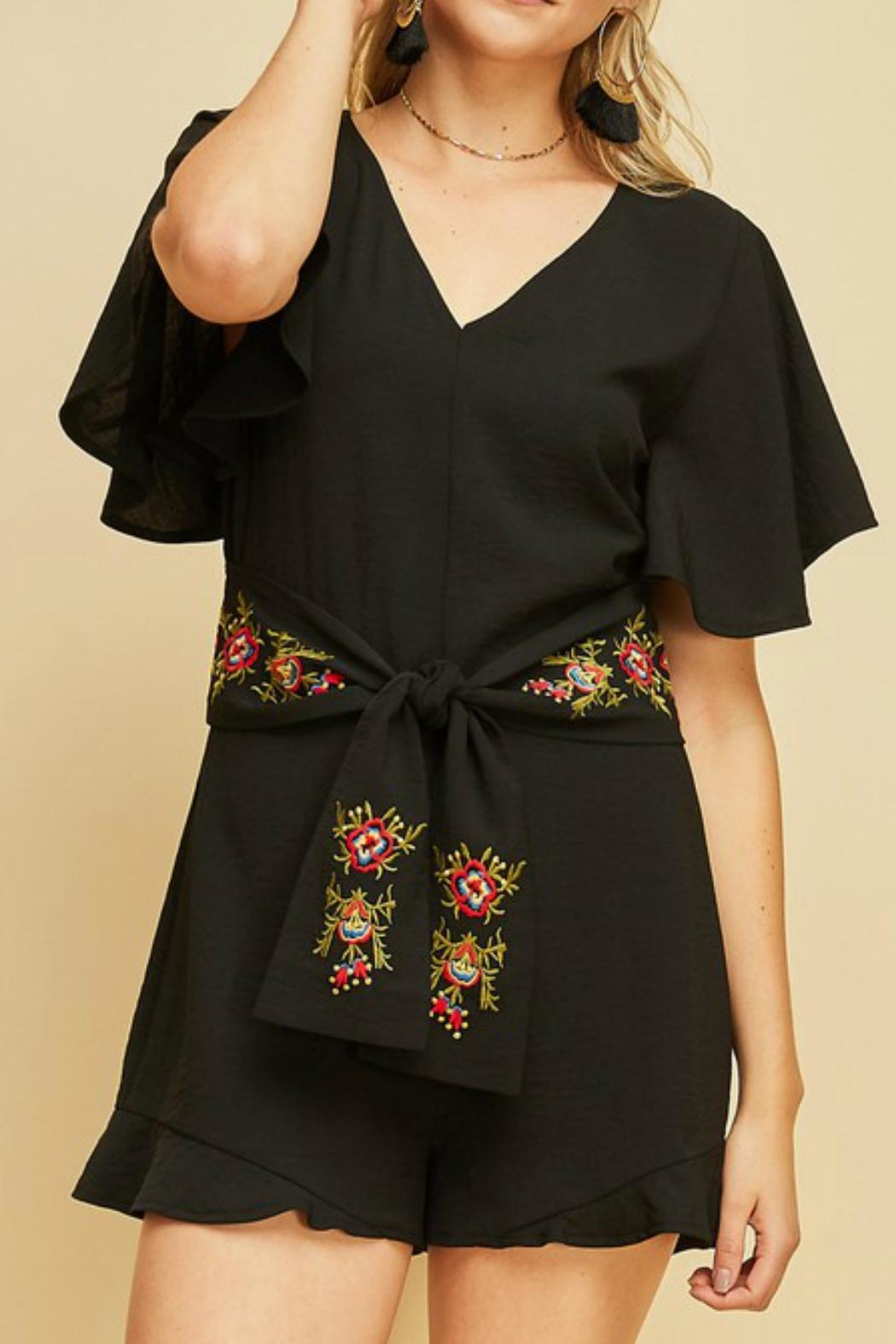 Entro Embroidered Waist Romper - Main Image