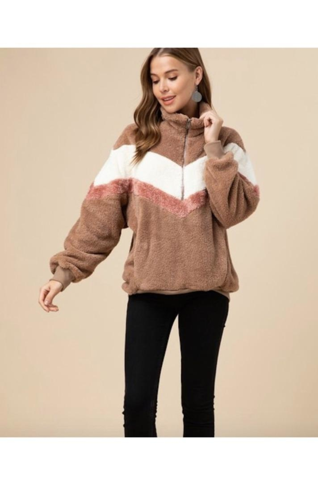 Entro Faux Fur Chevron Pullover Sweater - Front Cropped Image