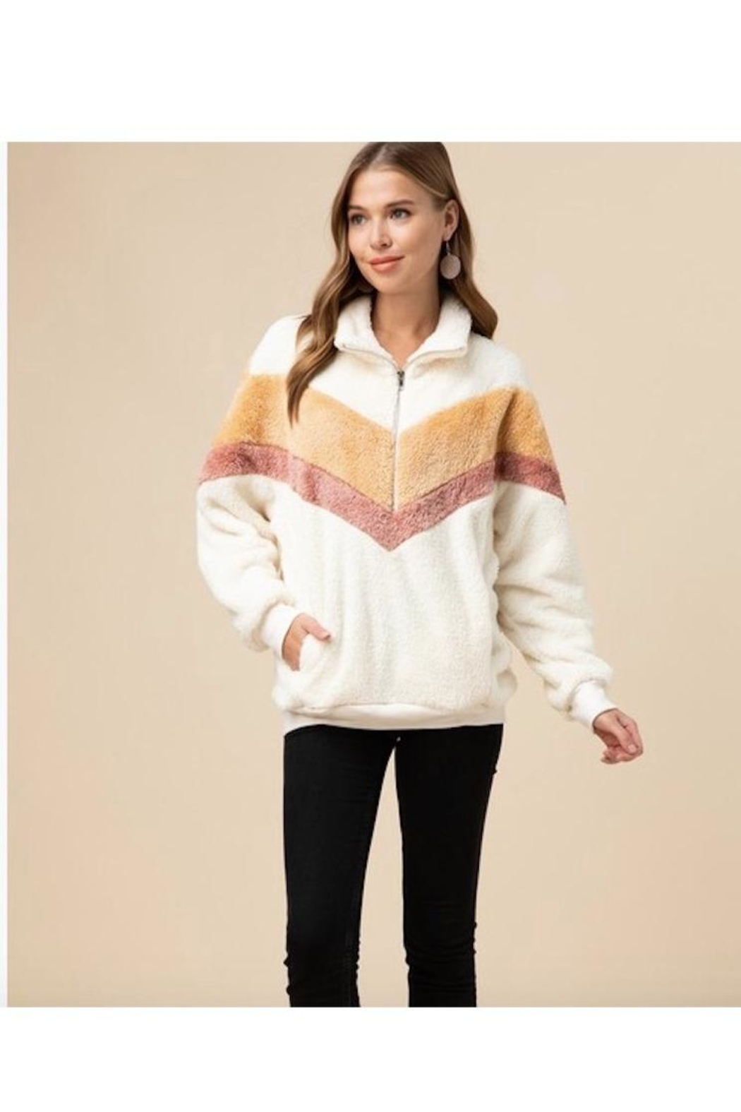Entro Faux Fur Chevron Pullover Sweater - Main Image