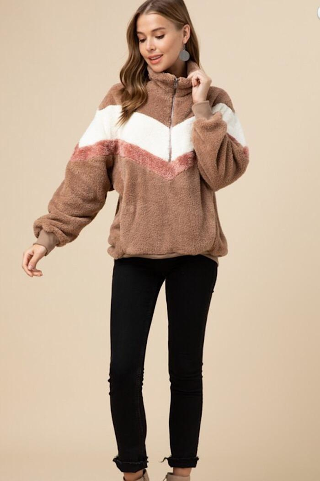 Entro Faux Fur Pullover - Front Cropped Image