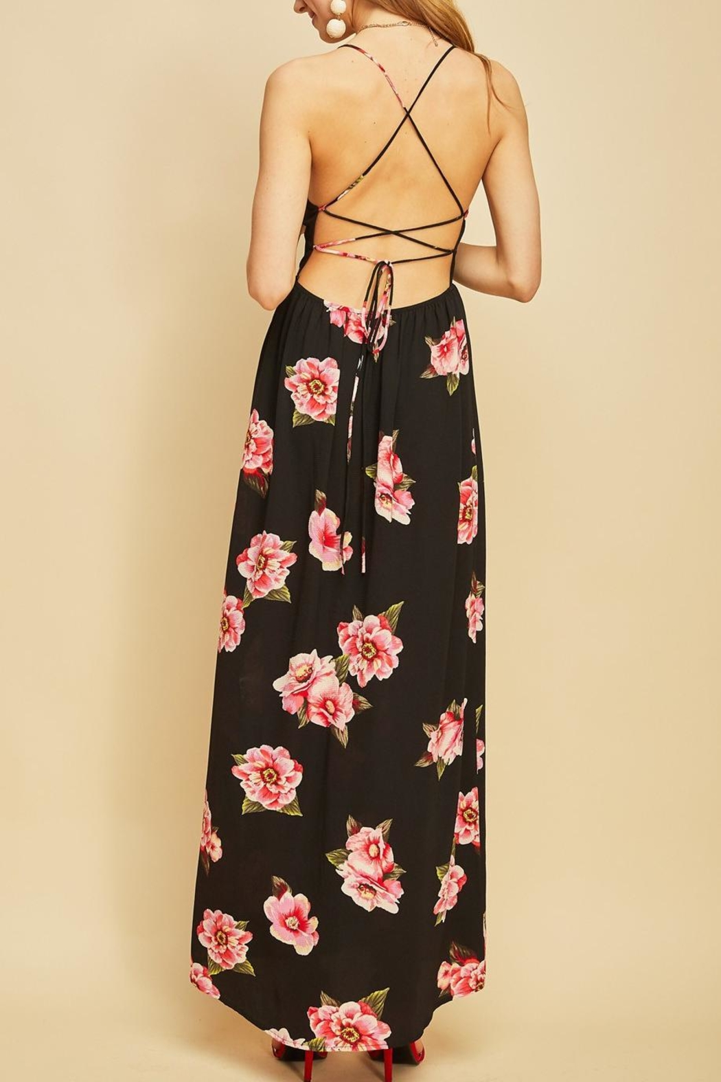 Entro Floral Backless Maxi - Front Full Image