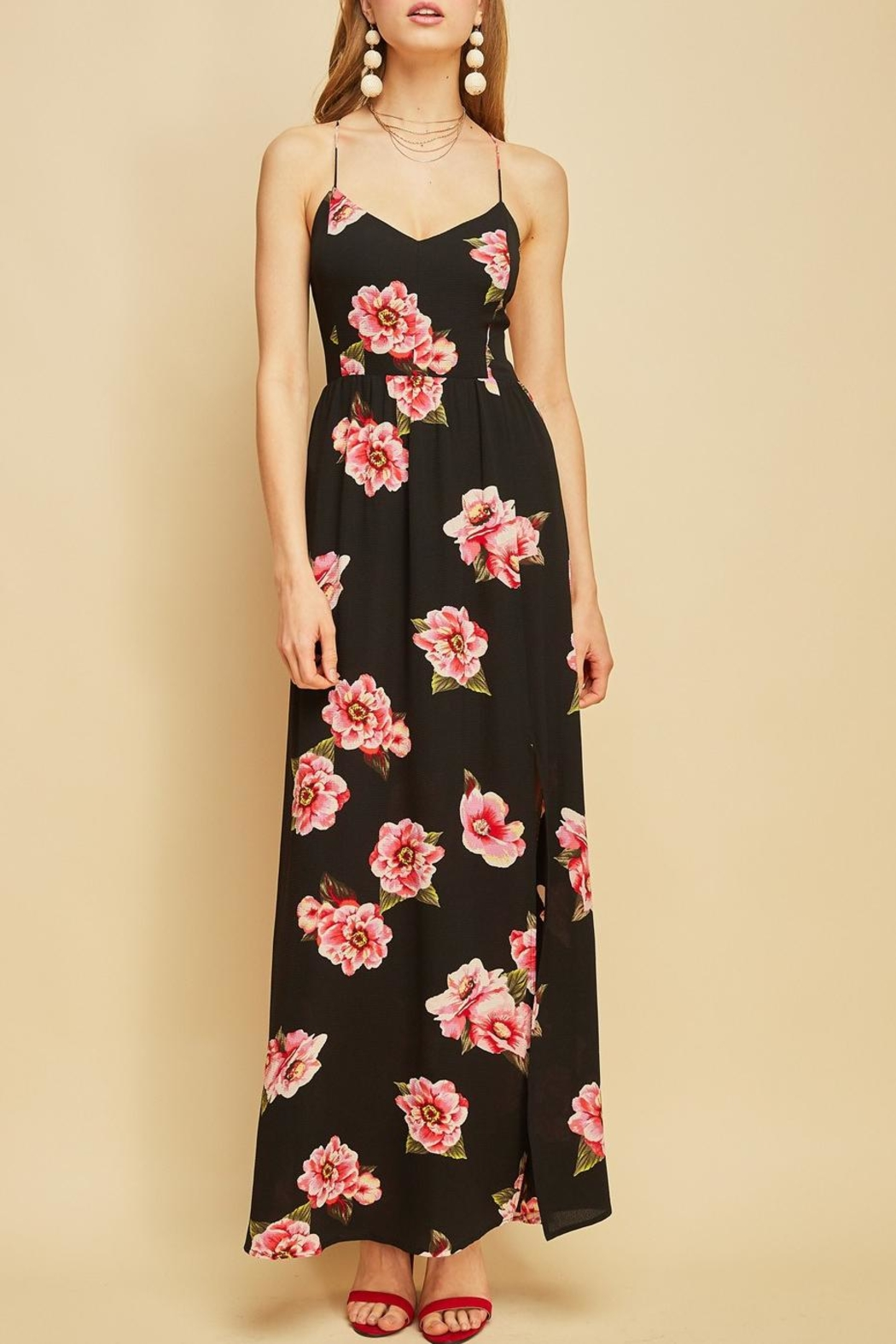 Entro Floral Backless Maxi - Back Cropped Image