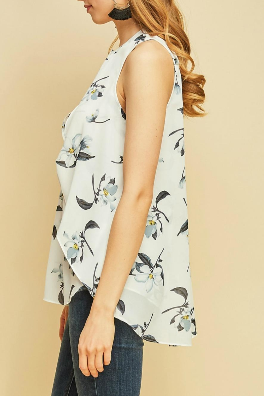 Entro Floral Button-Down Blouse - Front Full Image