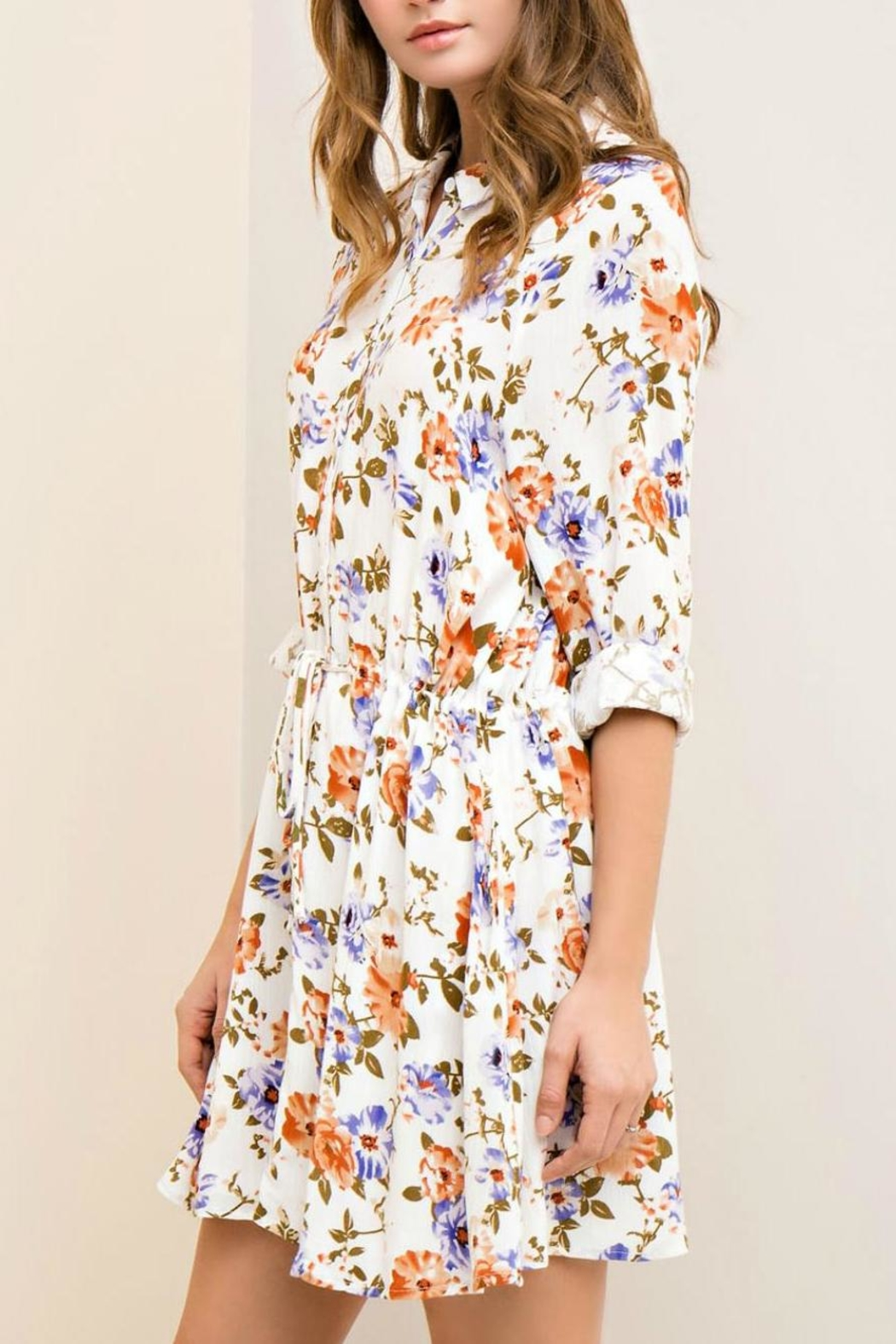 Entro Floral Button-Down Dress - Front Full Image