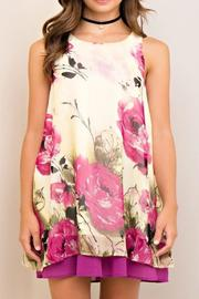 Entro Floral Contrast Dress - Product Mini Image