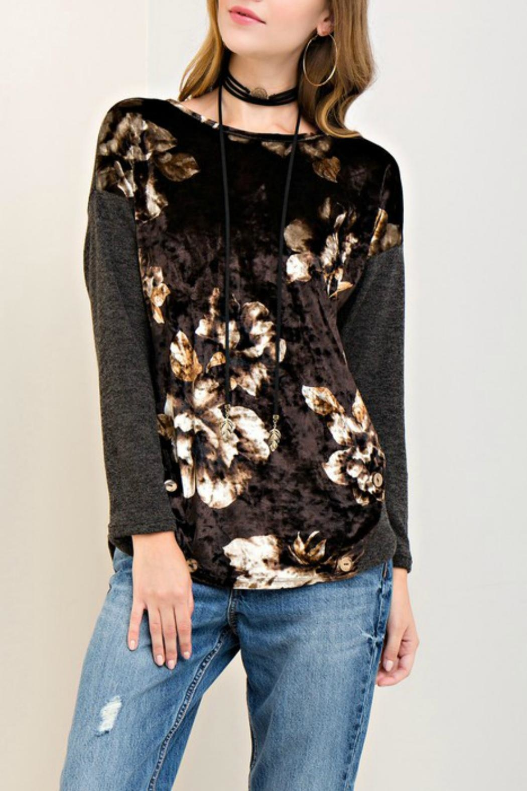 Entro Floral Crushed-Velvet Top - Main Image