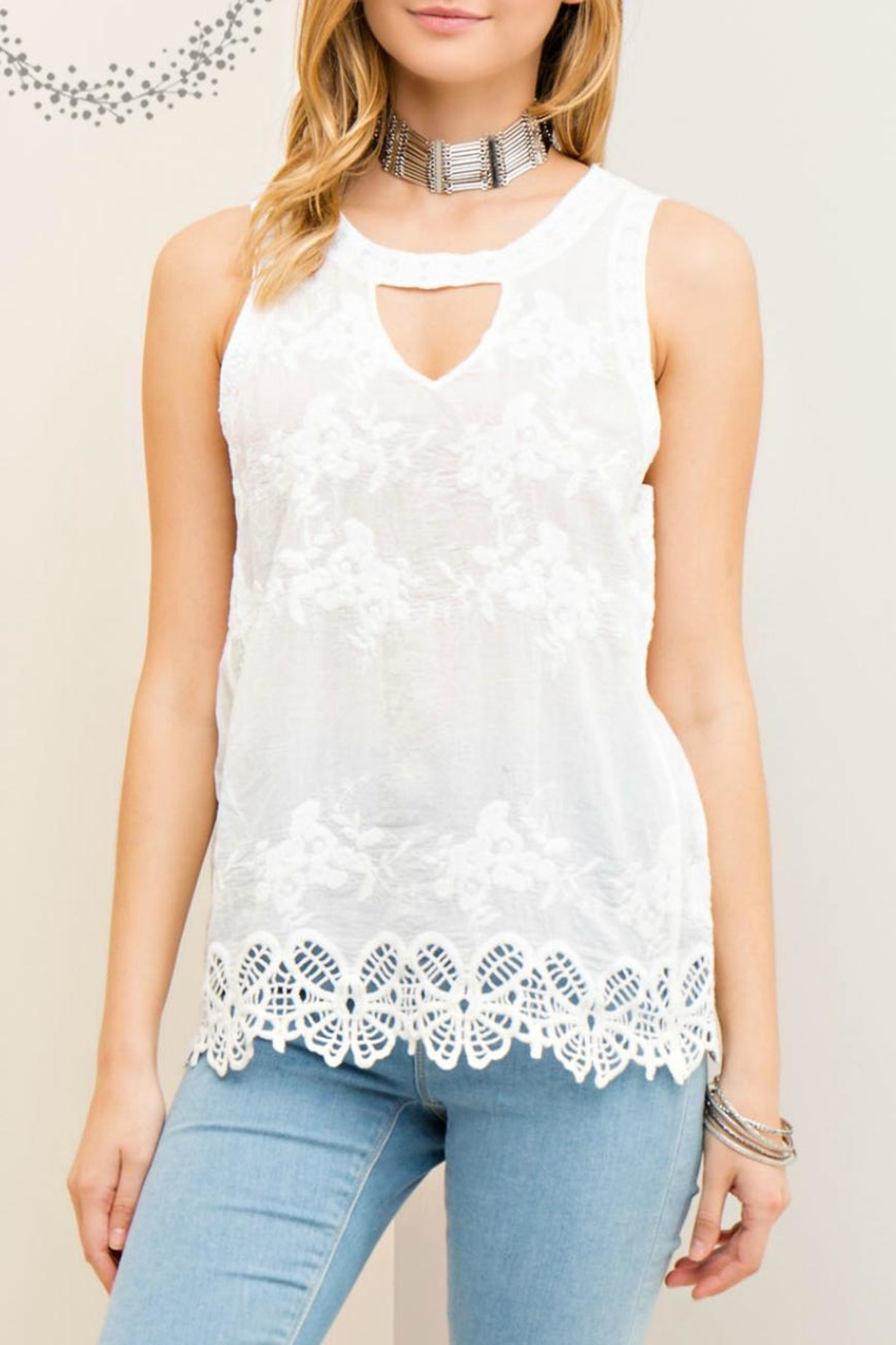 Entro Floral Embossed Top - Main Image