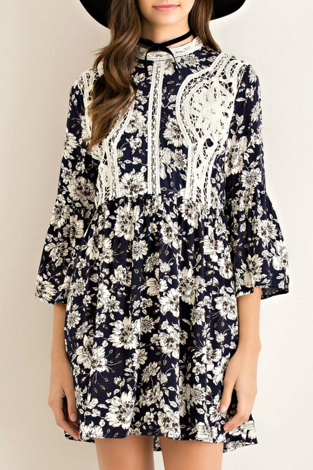 Entro Floral Fit Flare Dress - Main Image