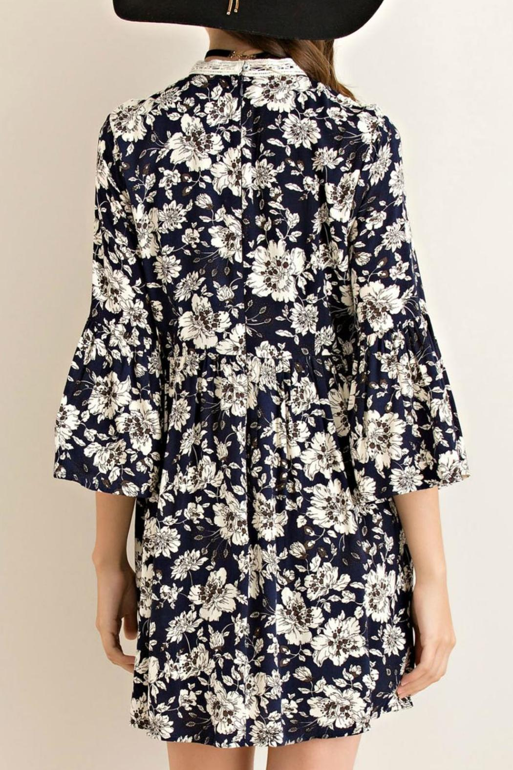 Entro Floral Fit Flare Dress - Side Cropped Image