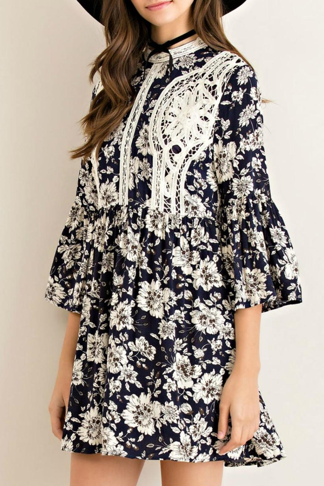 Entro Floral Fit Flare Dress - Front Full Image