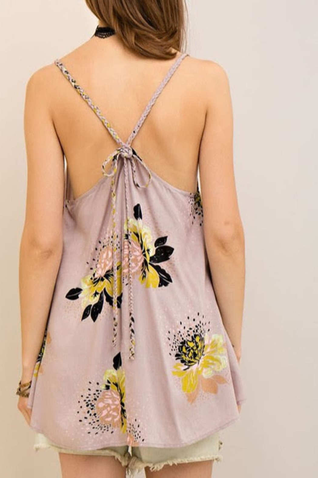 Entro Floral Flowy Tank - Back Cropped Image