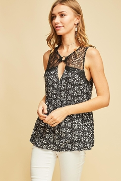 Entro Floral Lace Detail Babydoll Top - Product List Image