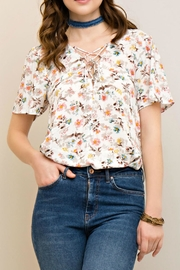 Entro Floral Lace Up Top - Front cropped
