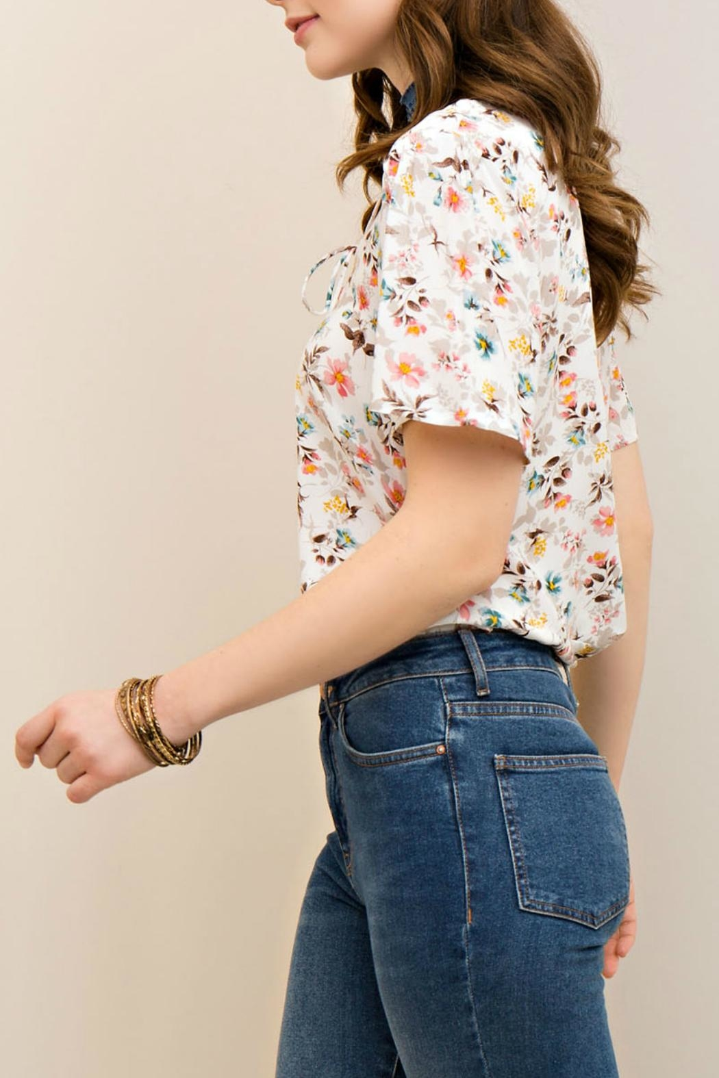 Entro Floral Lace Up Top - Front Full Image