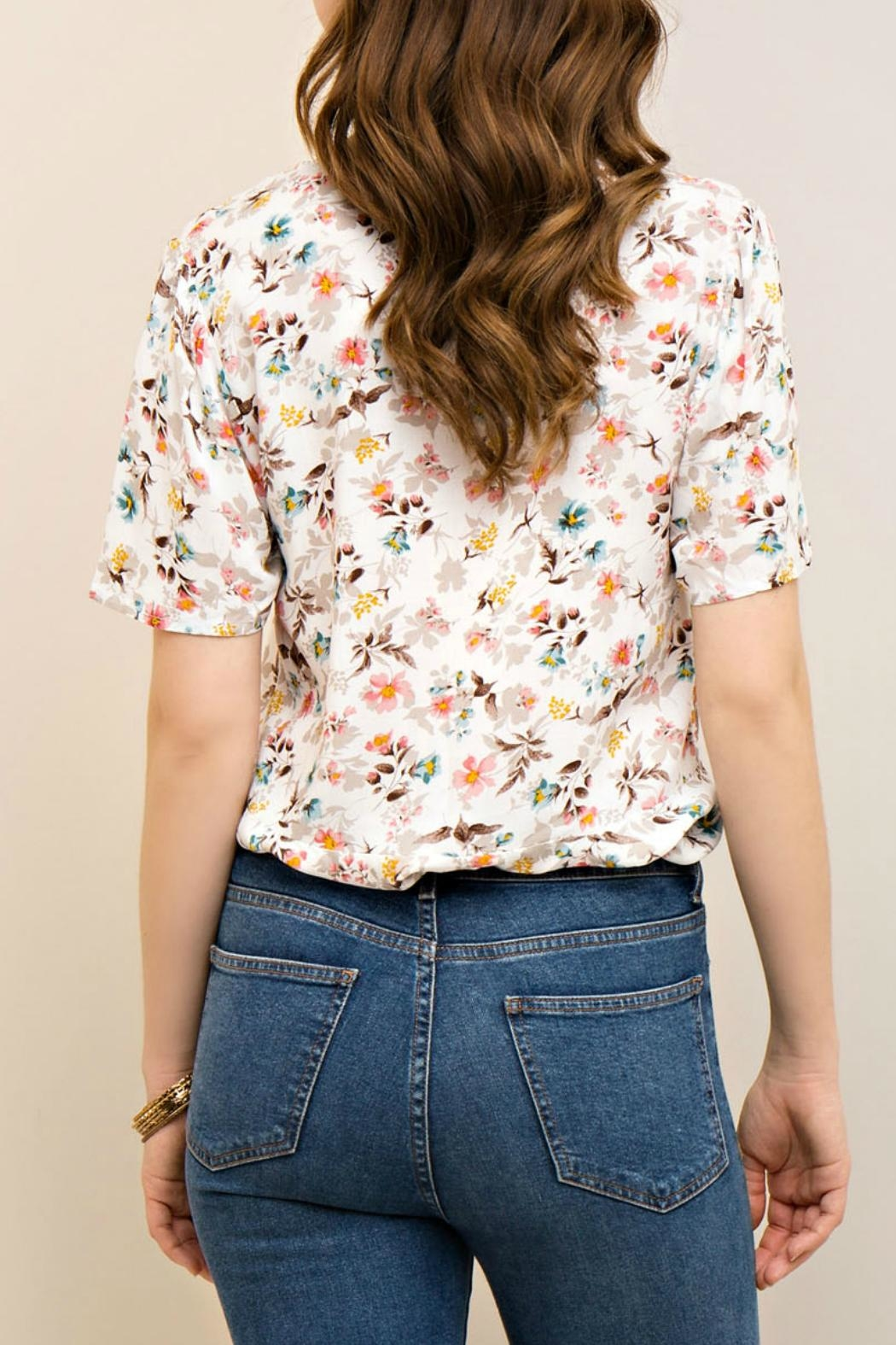 Entro Floral Lace Up Top - Side Cropped Image