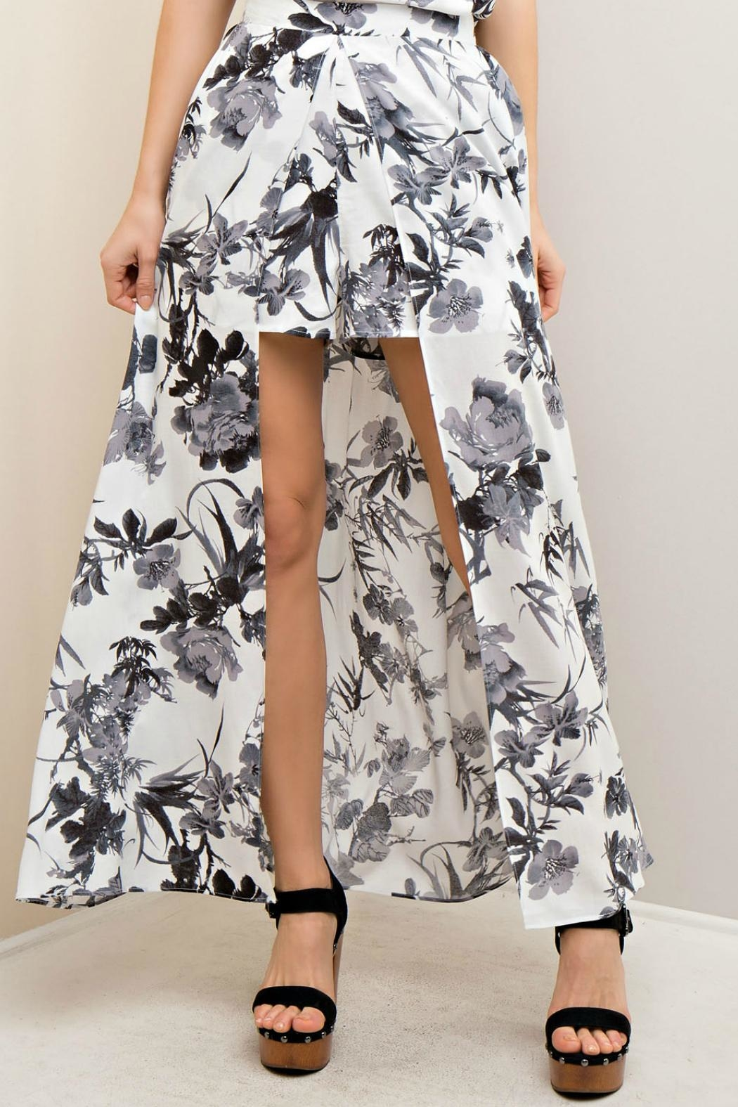 Entro Floral Maxi Short/Skirt - Side Cropped Image