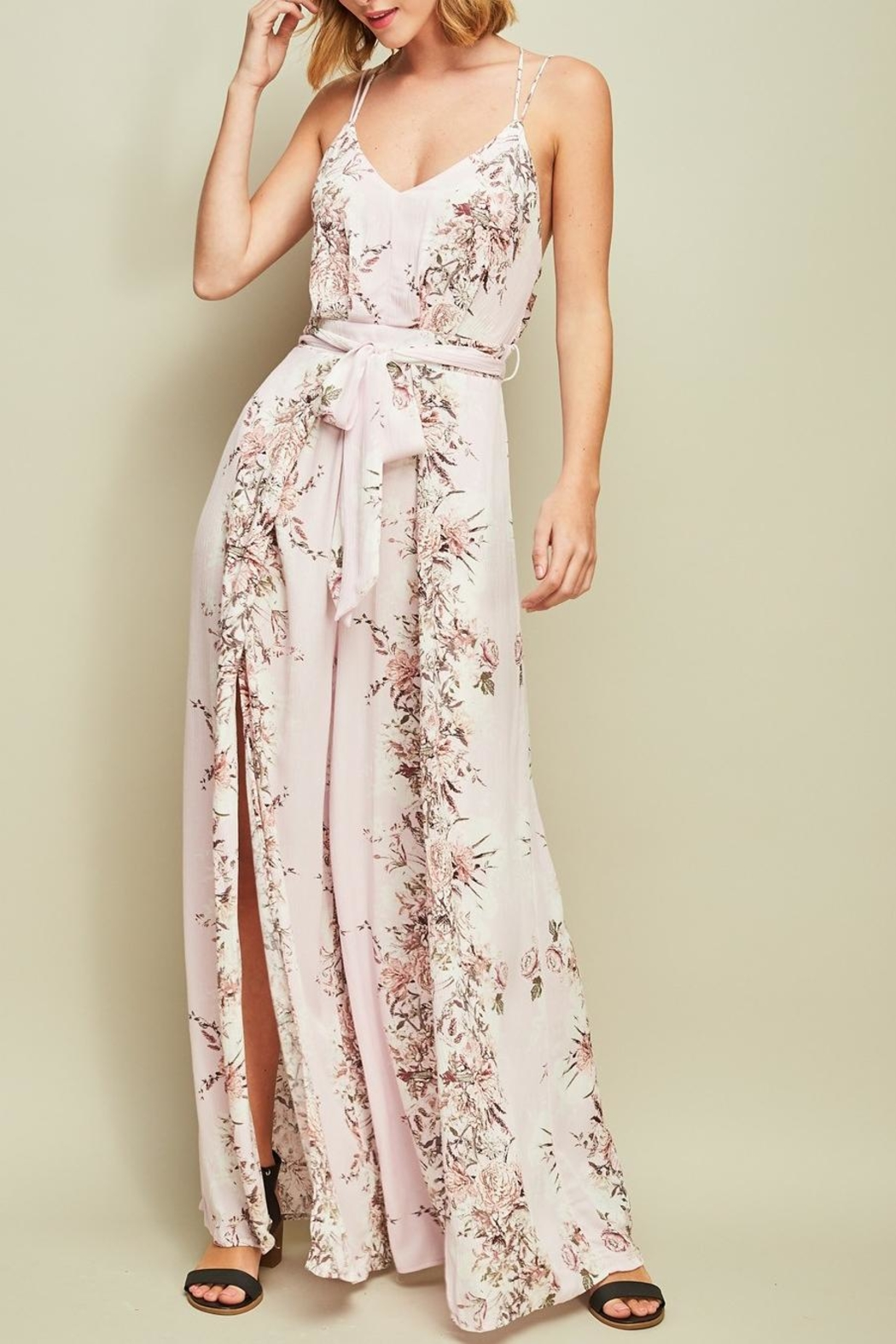 Entro Floral Open-Back Jumpsuit - Front Cropped Image