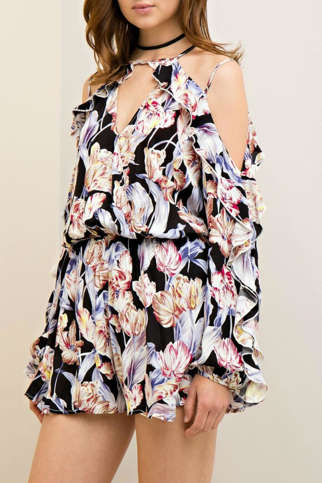 Entro Floral Open Shoulder Romper - Side Cropped Image