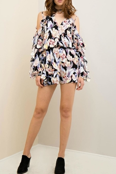 Shoptiques Product: Floral Open Shoulder Romper