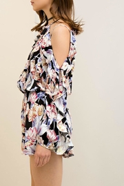 Entro Floral Open Shoulder Romper - Back cropped