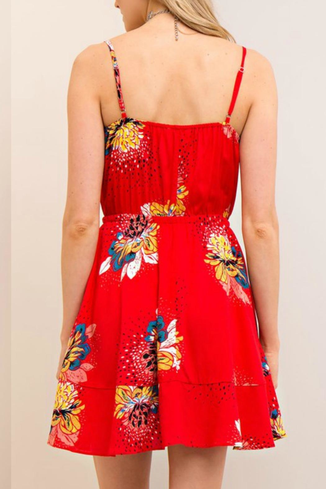 Entro Floral Print Dress - Side Cropped Image