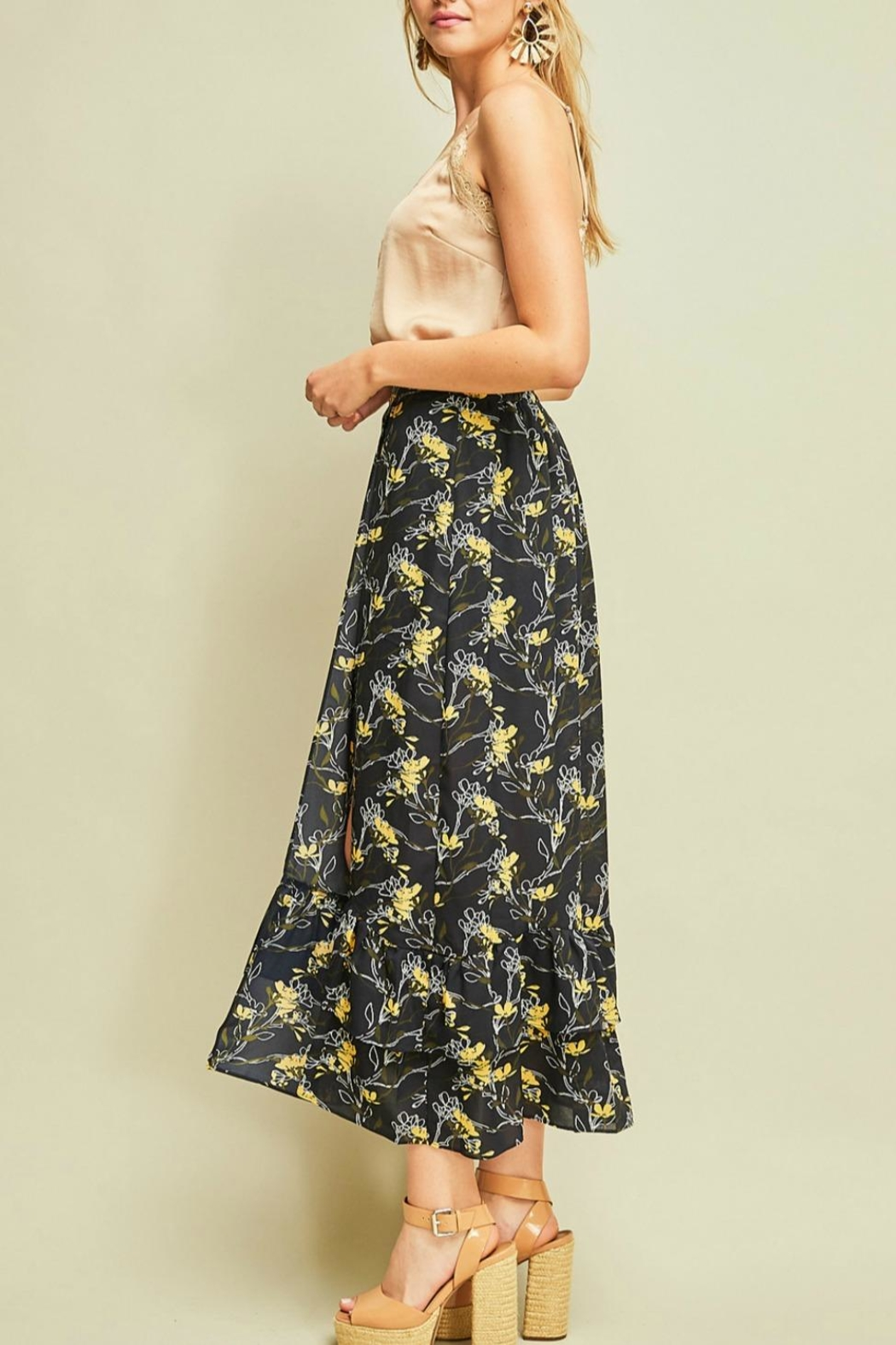Entro Floral Print Skirt - Front Full Image