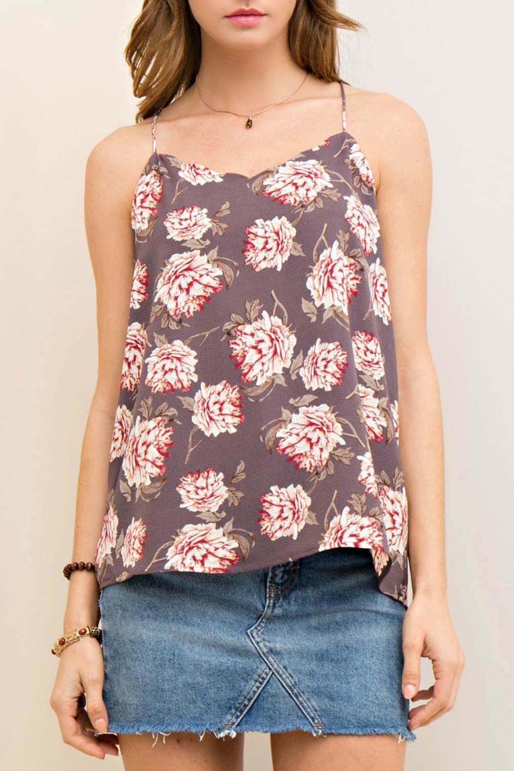 Entro Floral Print Tank - Front Cropped Image