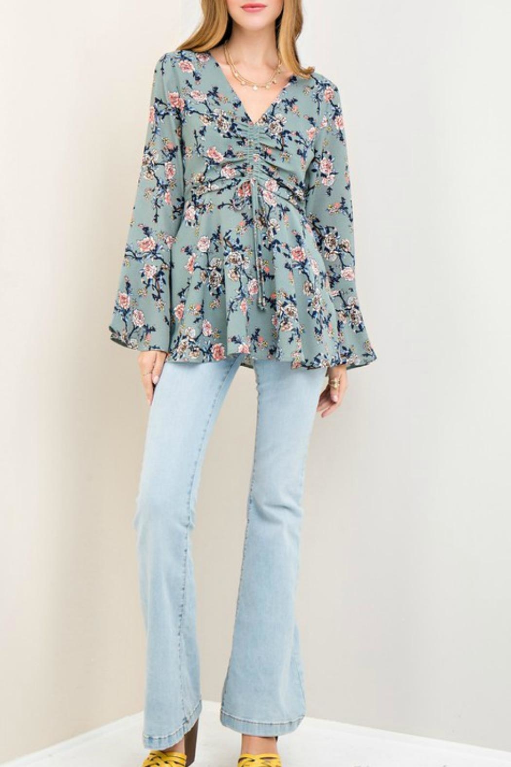 Entro Floral Print Top - Side Cropped Image