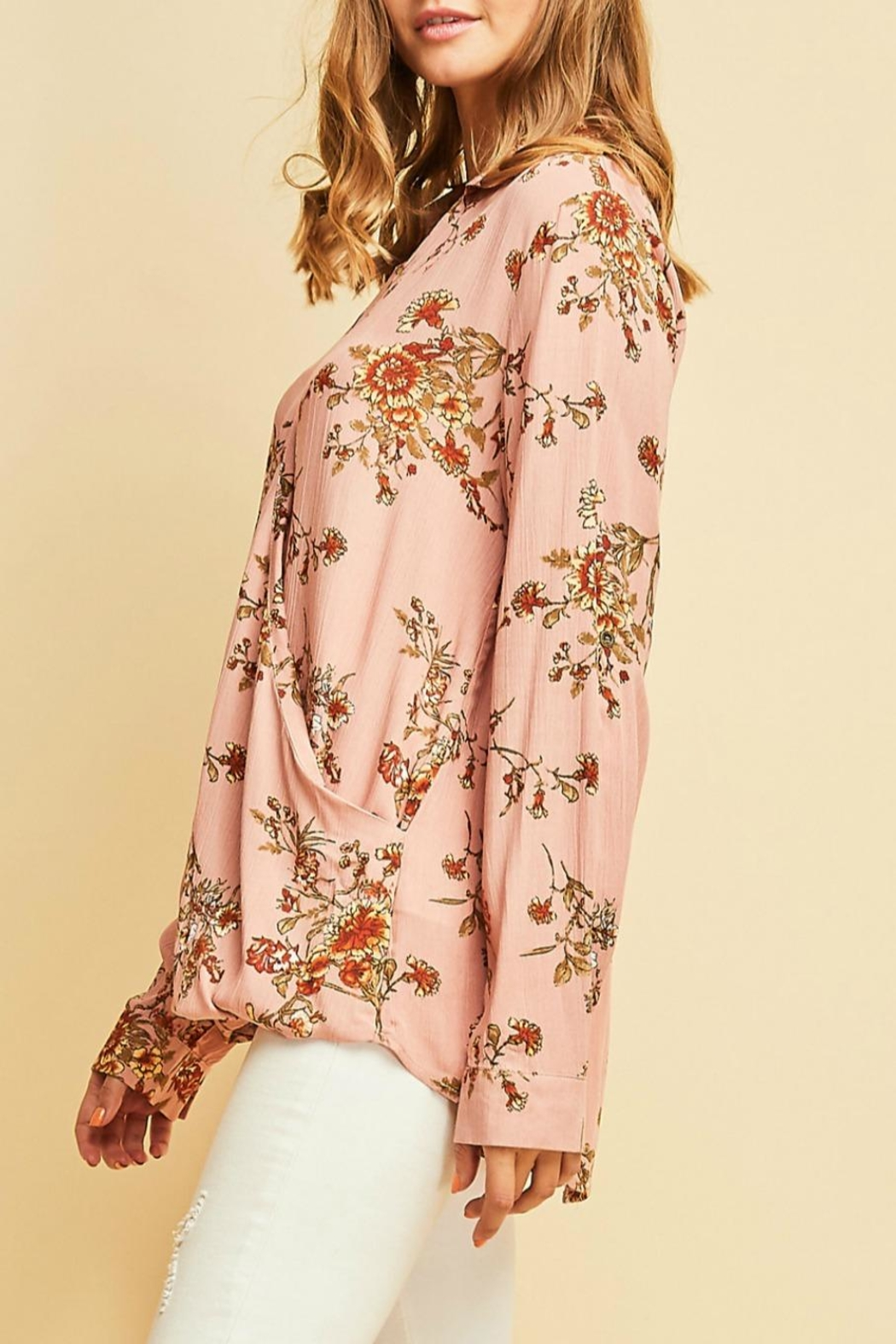 Entro Floral Print Top - Front Full Image