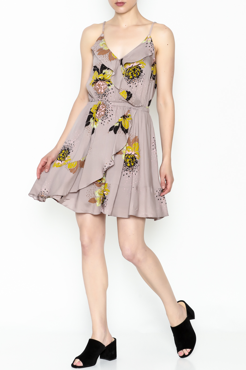 Entro Floral Ruffle Dress - Side Cropped Image
