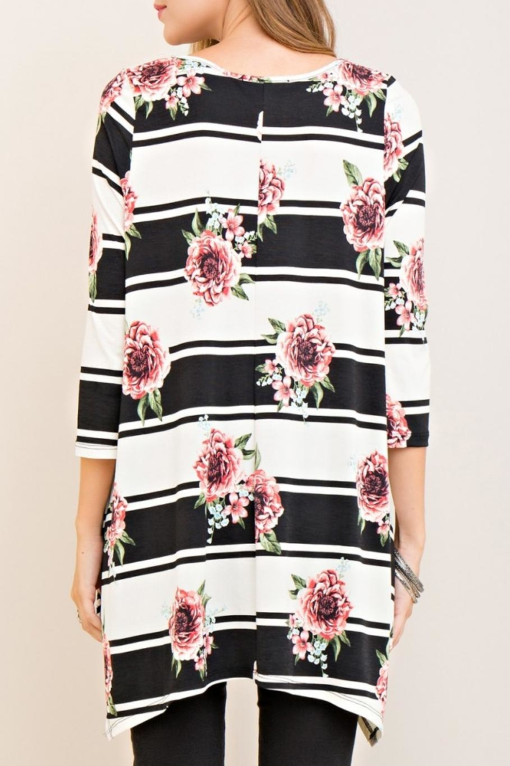 Entro Floral Striped Top - Front Full Image