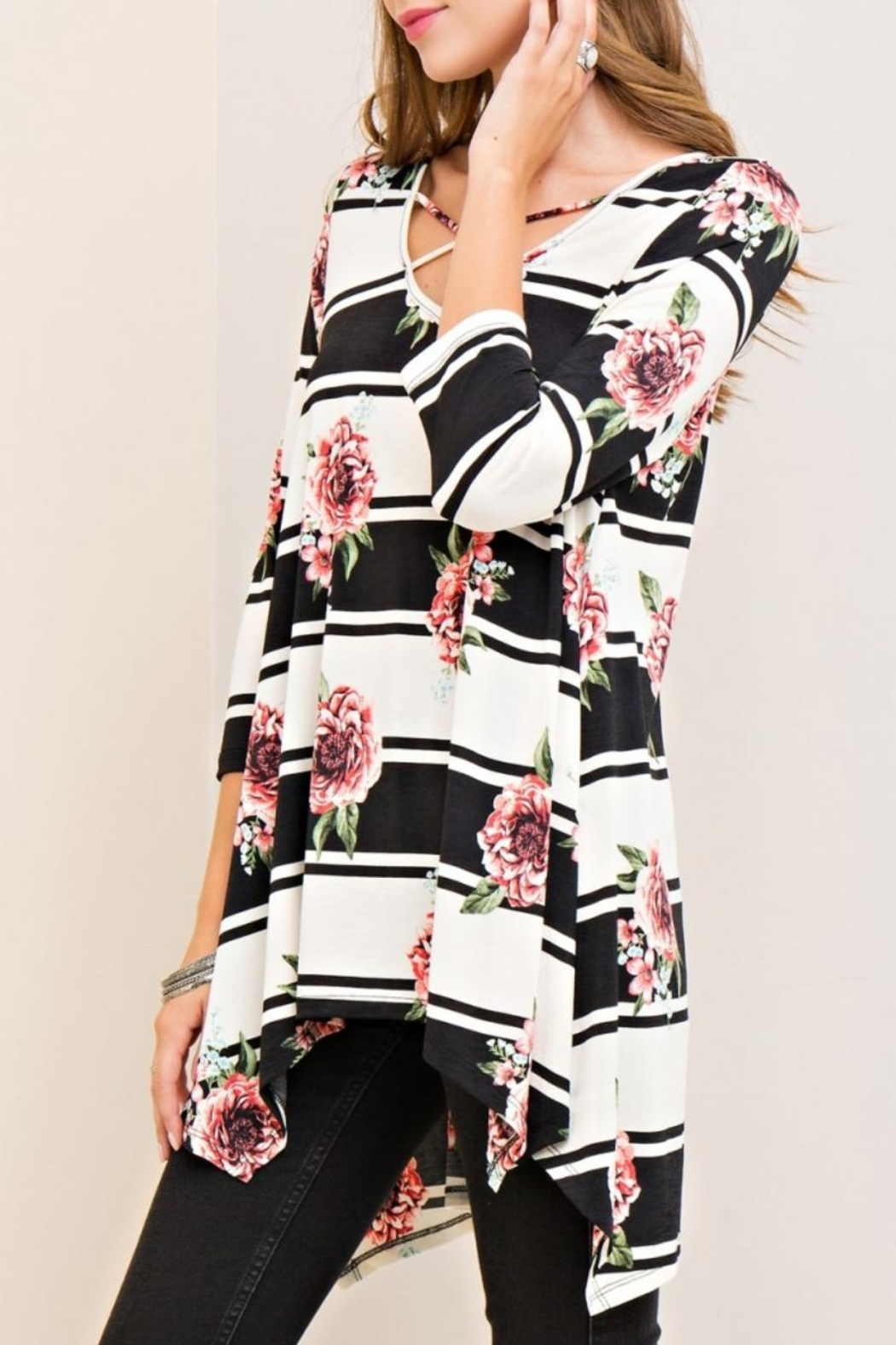 Entro Floral Striped Top - Back Cropped Image