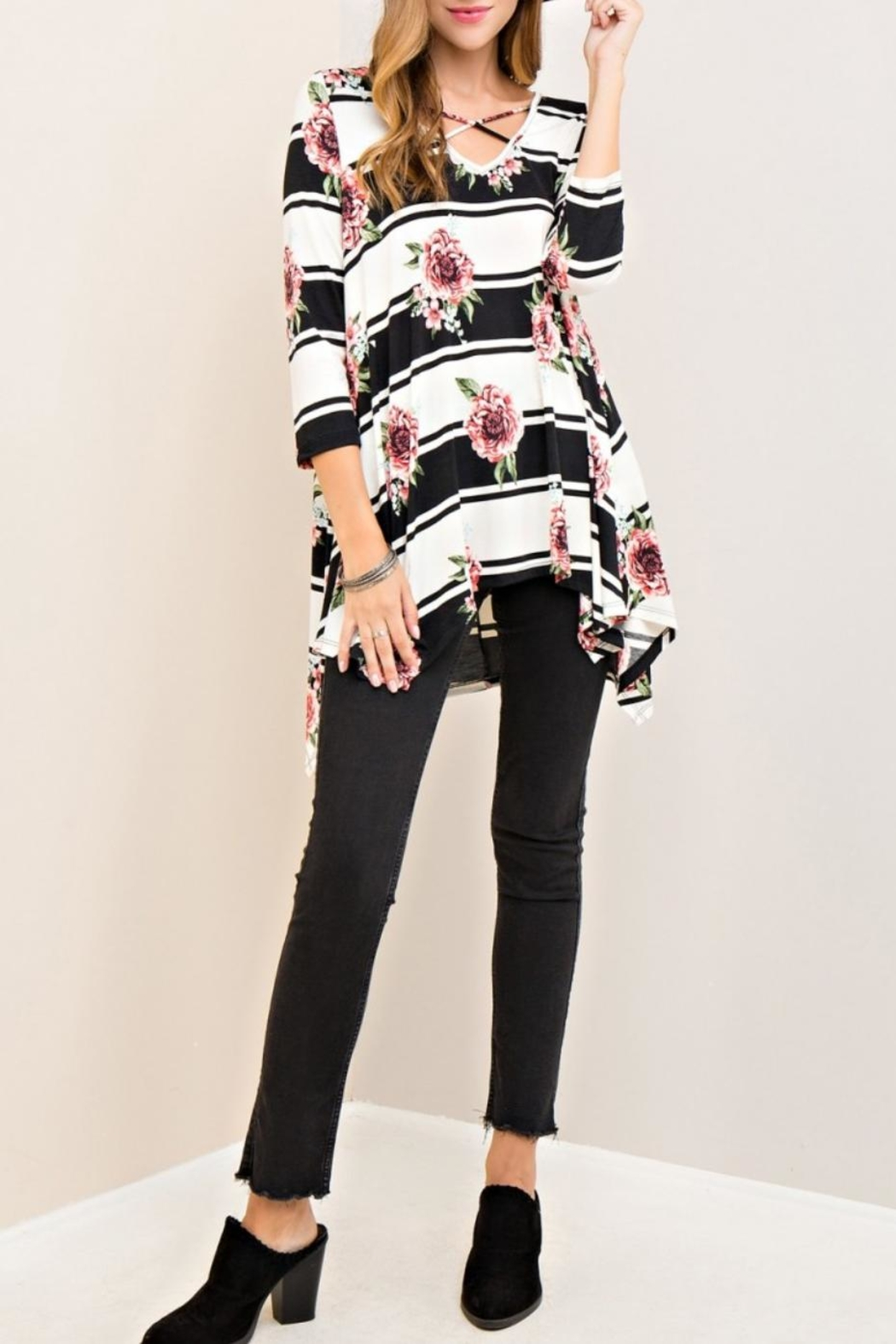 Entro Floral Striped Top - Main Image