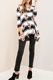 Entro Floral Striped Top - Front cropped