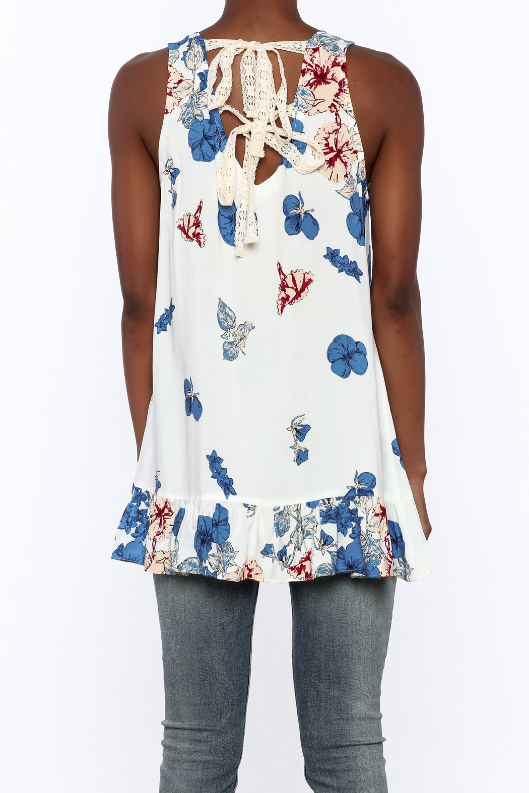 Entro Floral Print Sleeveless Top - Back Cropped Image