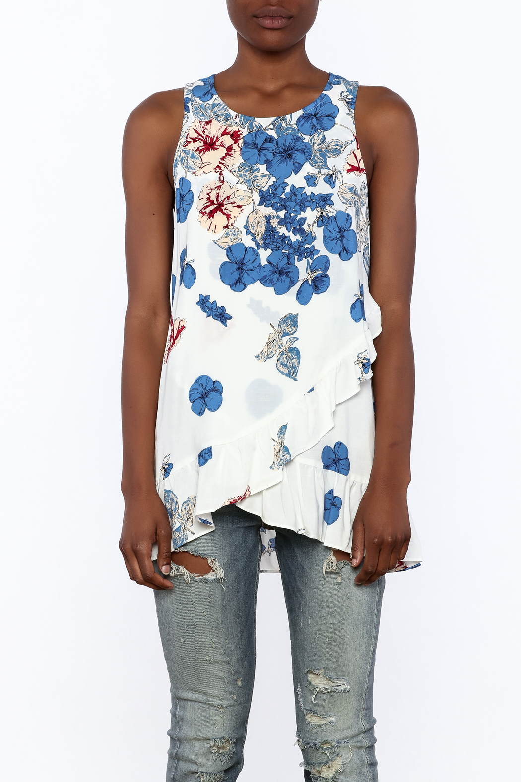 Entro Floral Print Sleeveless Top - Side Cropped Image