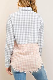 Entro Frayed Checkered Button Down - Front full body