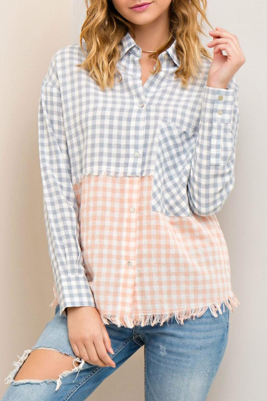 Entro Frayed Checkered Button Down - Main Image
