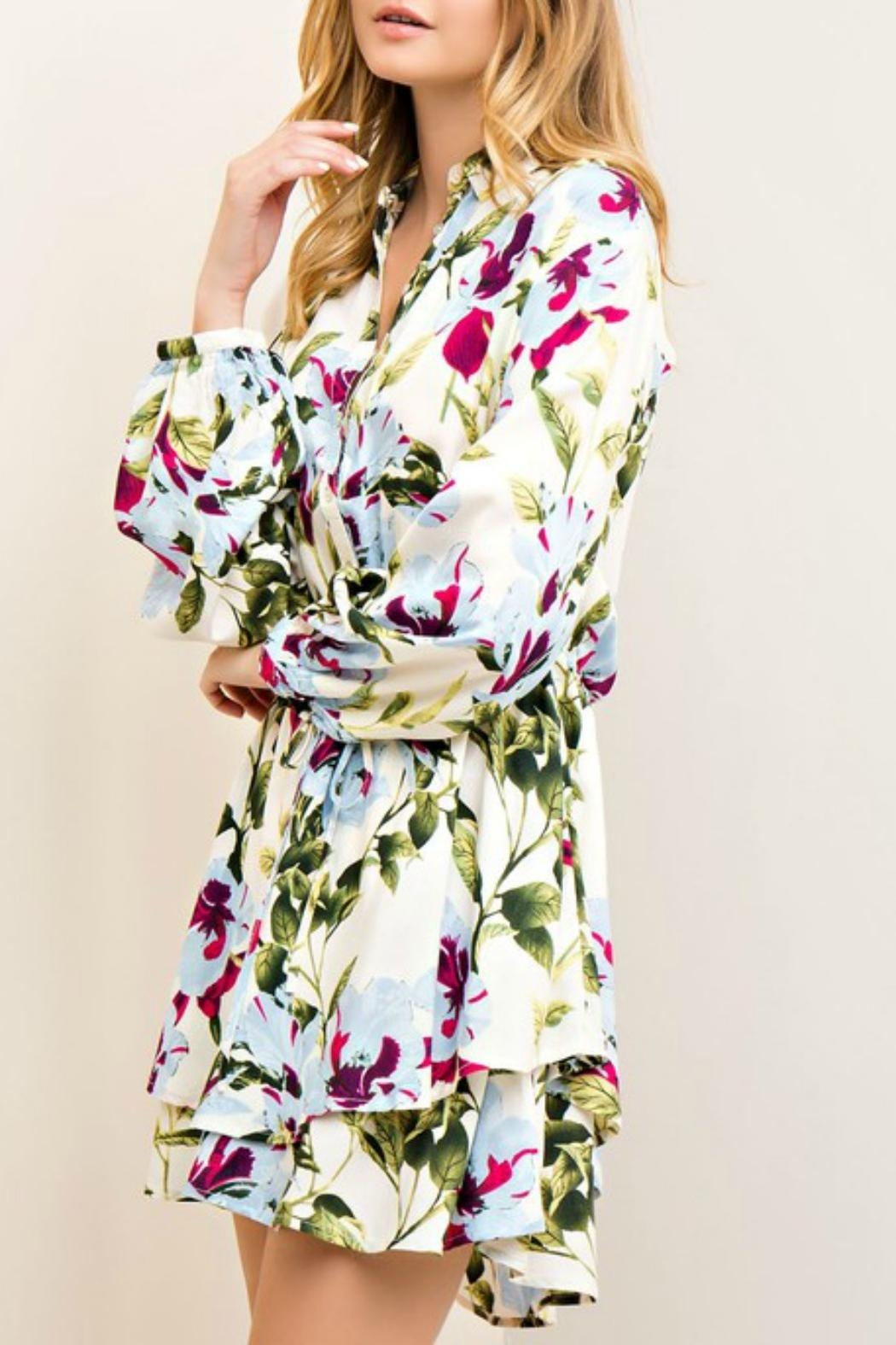 Entro Garden Wrap Dress - Side Cropped Image