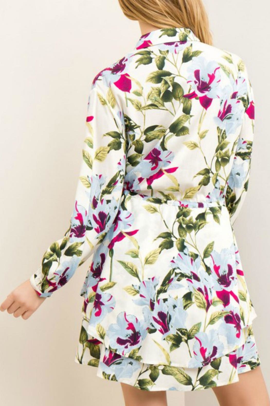 Entro Garden Wrap Dress - Back Cropped Image