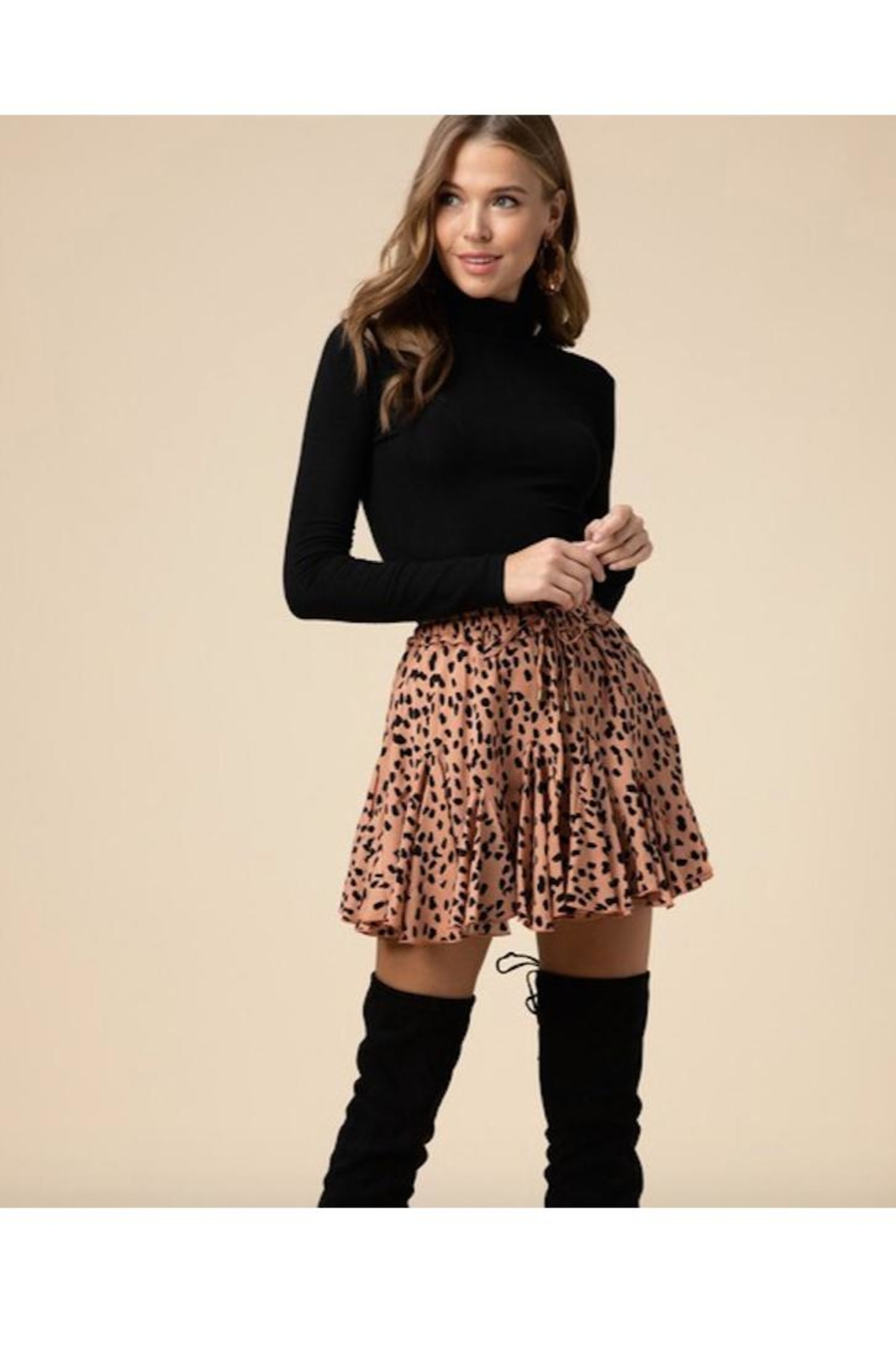 Entro Geometric Print Ruffle Skirt - Front Cropped Image