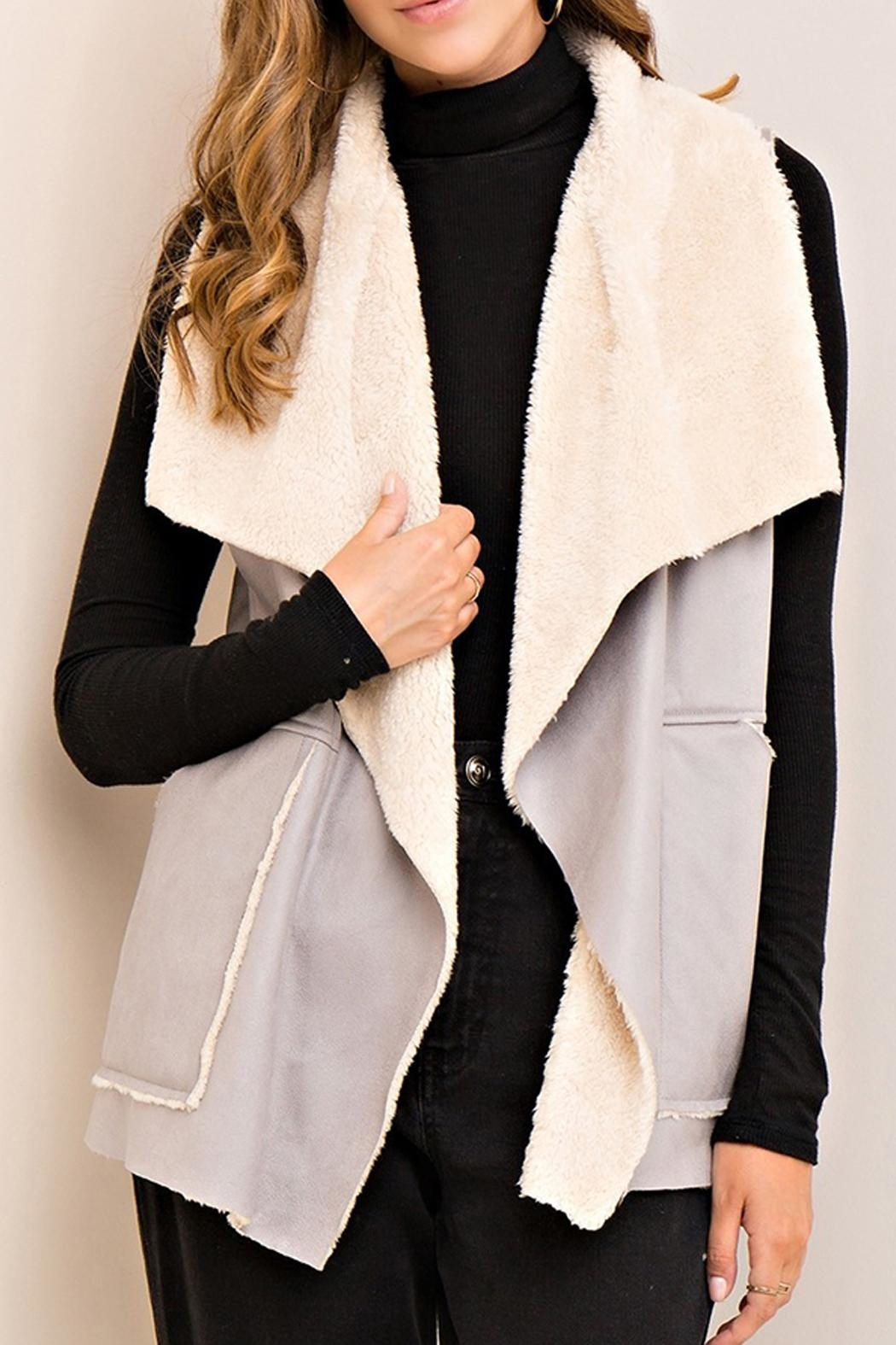 Entro Gray Shearling Vest - Front Cropped Image