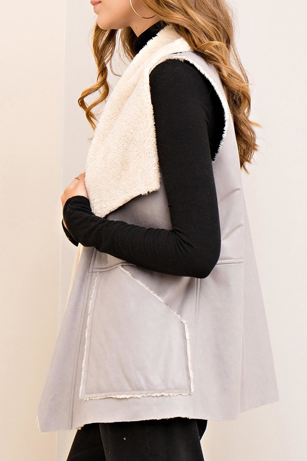 Entro Gray Shearling Vest - Back Cropped Image