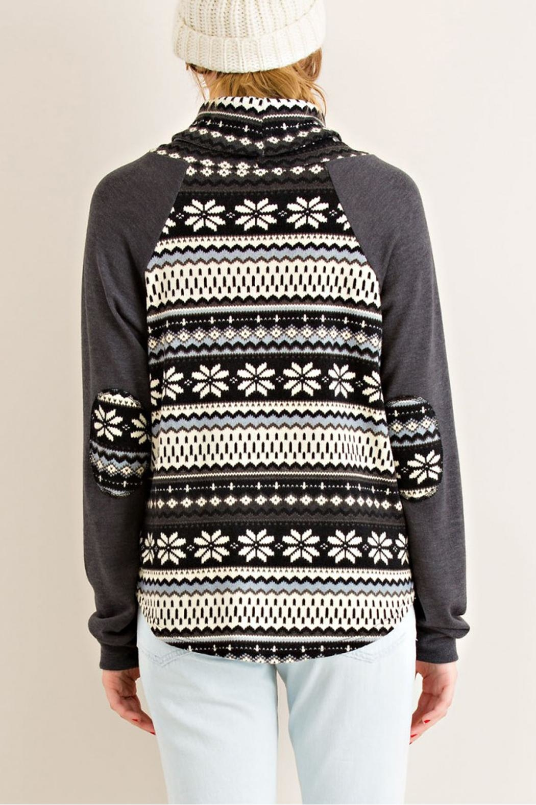 Entro Gray Snowflake Sweater - Back Cropped Image