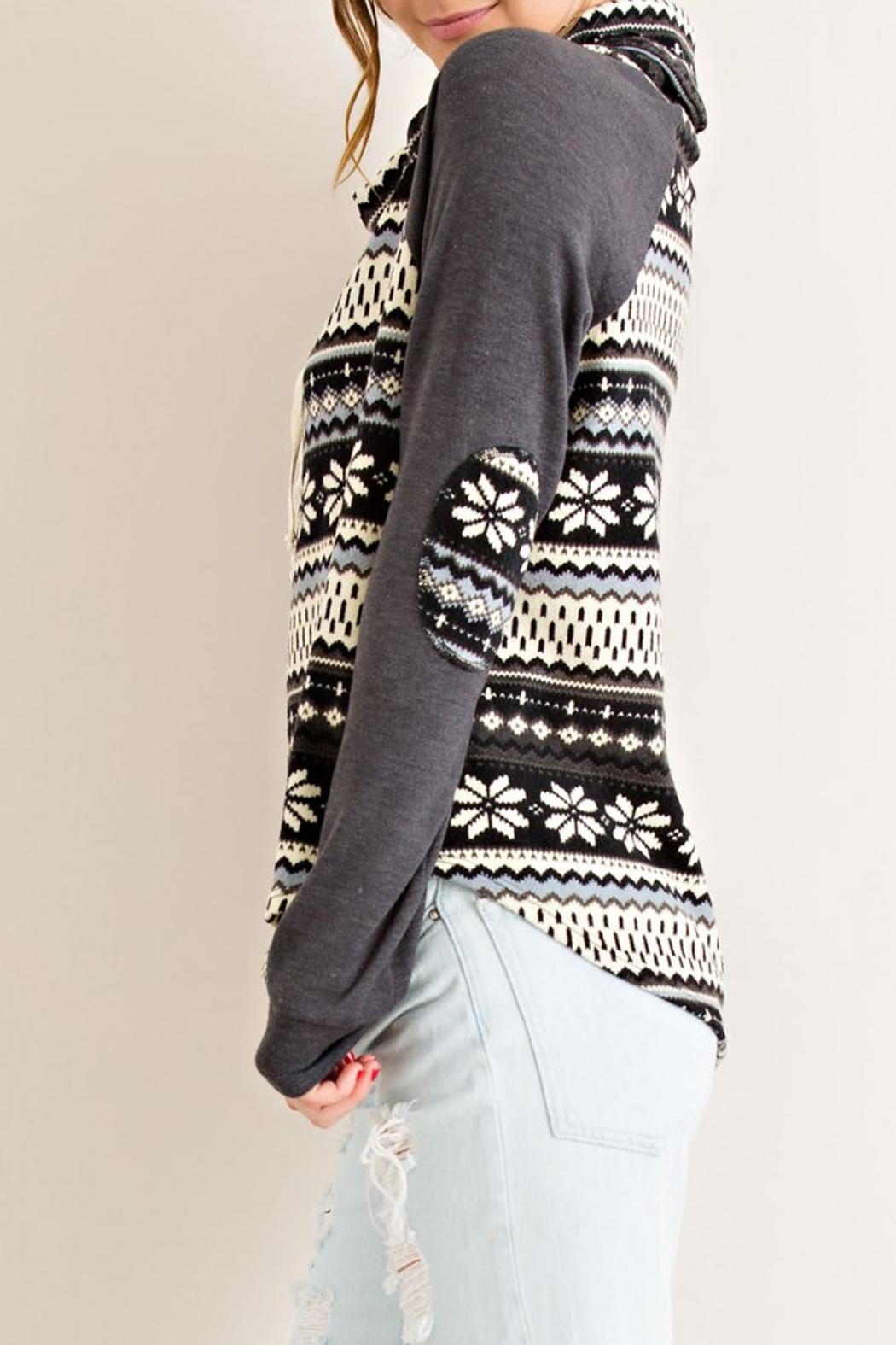 Entro Gray Snowflake Sweater - Side Cropped Image