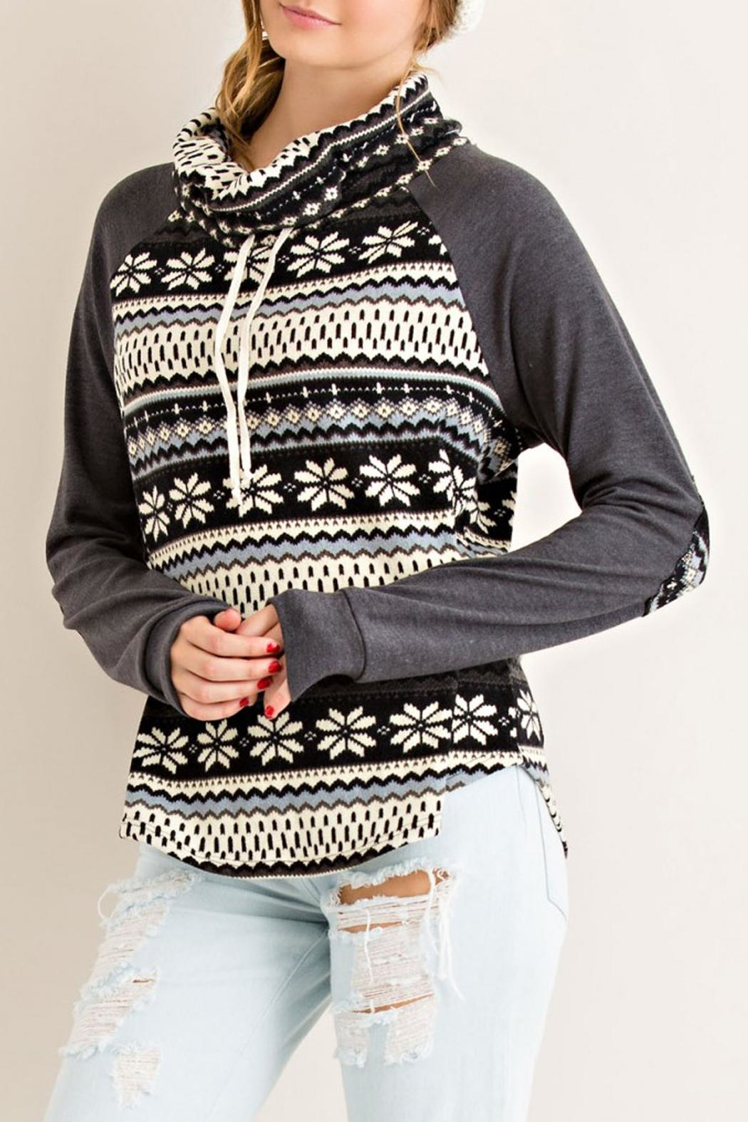 Entro Gray Snowflake Sweater - Front Full Image