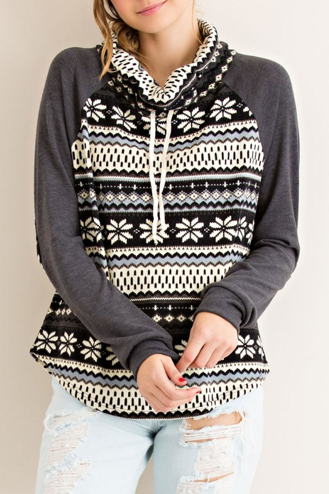 Entro Gray Snowflake Sweater - Front Cropped Image