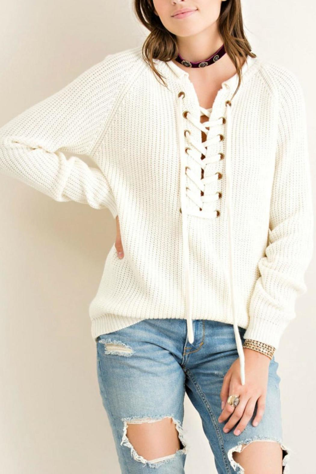 Entro Grommett Lace Sweater - Front Cropped Image