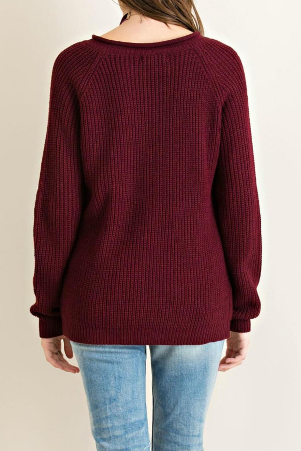 Entro Grommett Lace Sweater - Side Cropped Image